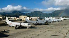 100706-N-6855K-063 KANEOHE BAY, Hawaii (July 5th) P-3C Orion aircraft from the Japanese, Canadian, Australian, Republic of Korean and U.S. navies line the Rainbow Fleet tarmac of Marine Corps Air Station Kaneohe Bay during the Rim of the Pacific (RIMPAC) 2010 exercise. RIMPAC is a biennial, multinational exercise designed to strengthen regional partnerships and improve interoperability. U.S. Navy photo by Mass Communication Specialist 2nd Class Meagan E. Klein/Released