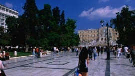 Syntagma Square and the Parliament building.