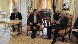 Ο Σταύρος Θεοδωράκης με τον Πρόεδρο της Παλαιστινιακής Αρχής, Μαχμούντ Αμπάς και τον βουλευτή Ηρακλείου, Σπύρο Δανέλλη