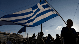 crisis greece street anthropoi flag simaia
