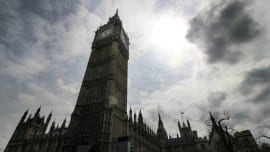 Wide angle Photograph of Big Ben tower in London on May 2nd , 2015
