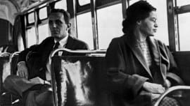 Rosa Parks seated toward the front of the bus in Montgomery, Alabama.  1956. (Photo by Underwood Archives/Getty Images)