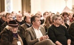 Ο Σταύρος Θεοδωράκης ανάμεσα στους δύο ευρωβουλευτές Γιώργο Γραμματικάκη και Μίλτο Κύρκο