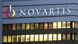 The logo of Swiss drugmaker Novartis is seen at its headquarters in Basel, Switzerland October 22, 2013. REUTERS/Arnd Wiegmann/File PhotoFOR EDITORIAL USE ONLY. NO RESALES. NO ARCHIVES - RTX2BISA