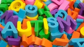 Childhood Disorder autism spelt out in multicoloured alphabet erasers
