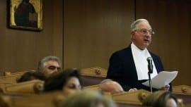 Ο πρόεδρος του Συμβουλίου της Επικρατείας Νίκος Σακελλαρίου μιλάει σε εκδήλωση για τον Ιταλό προέδρο του Ευρωπαϊκού Δικαστηρίου Ανθρωπίνων Δικαιωμάτων (ΕΔΑΔ) Guido Raimondi που έγινε παρουσία του Προέδρου της Δημοκρατίας Προκόπη Παυλόπουλου στο Συμβούλιο της Επικρατείας, προς τιμήν του για τη συνολική του προσφορά στα ευρωπαϊκά δικαστικά δρώμενα, Παρασκευή 26 Μαΐου 2017. ΑΠΕ-ΜΠΕ/ΑΠΕ-ΜΠΕ/ΑΛΕΞΑΝΔΡΟΣ ΒΛΑΧΟΣ