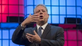 "LISBON, PORTUGAL - NOVEMBER 09: Former USA Vice President Al Gore, Chairman, Generation Investment Management, talks about ""The innovation community's role in solving the climate crisis"" during the final day of Web Summit in Altice Arena on November 09, 2017 in Lisbon, Portugal. Web Summit (originally Dublin Web Summit) is a technology conference held annually since 2009. The company was founded by Paddy Cosgrave, David Kelly and Daire Hickey. The topic of the conference is centered on internet technology and attendees range from Fortune 500 companies to smaller tech companies. This contains a mix of CEOs and founders of tech start ups together with a range of people from across the global technology industry, as well as related industries. This year's edition, starting on November 06, is the second to be held in Lisbon and will congregate almost 60,000 participants. (Photo by Horacio Villalobos - Corbis/Getty Images)"